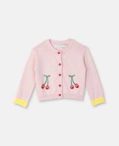 Cardigan rosa con ricamo ciliegie rosse e verdi