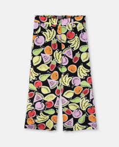 Pantalone nero con stampa frutta multicolore