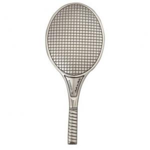 Blasone placca racchetta tennis in argento cm.4,1x9,6x0,3h