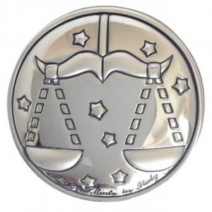 Blasone placca zodiaco bilancia in argento cm.0,3h diam.3