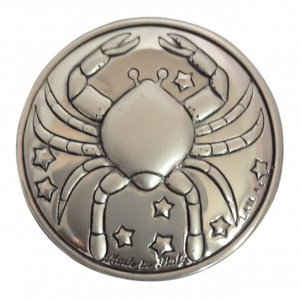 Blasone placca zodiaco cancro in argento cm.0,3h diam.3