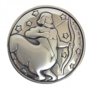 Blasone placca zodiaco sagittario in argento cm.0,3h diam.3