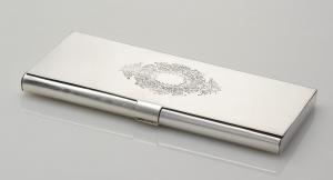Portasigarette stile inciso argentato argento sheffield cm.23x10