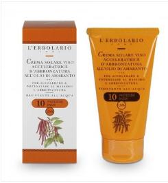 Crema solare viso acceleratrice d'abbronzatura con olio di Amaranto SPF10