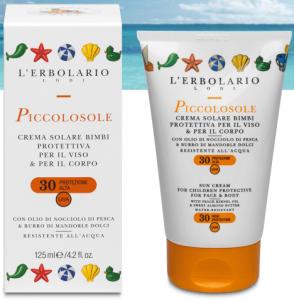 Crema solare bimbi protettiva per viso e corpo SPF30 125ml L'erbolario