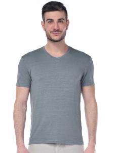T-shirt uomo Daniele Alessandrini in lino fiammato grigio 022232e72d9