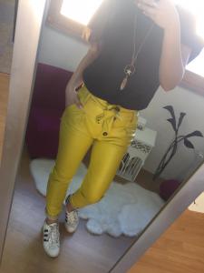 Pantalone Ecopelle vita alta con cintura fiocco