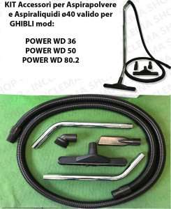 Accessories kit for vacuum cleaner ø40 valid for GHIBLI mod:  POWER WD 36, POWER WD 50, POWER WD 80.2