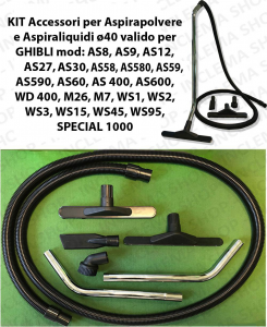 KIT Accesorios para aspiradora e Aspiraliquidi ø40 válido WIRBEL mod:  98, 829, 931, 935, 980, 990, POWER WD 36, POWER WD 50, POWER WD 80.2
