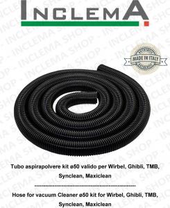 Tuyau pour aspirateurs fexible 5 mètres de long kit ø50 pour Wirbel, Ghibli, TMB, Maxiclean, Synclean