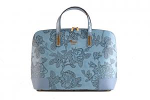 CUOIERIA FIORENTINA bag printed leather Female Calf Light Blue Italian Style