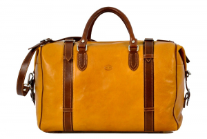 CUOIERIA FIORENTINA Leather Travel Duffel bag  Orange / Bicolor Italian Style