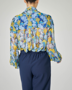 Blusa in georgette di viscosa a manica lunga a fantasia floreale azzurra