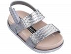 Sandali argento e rosa con velcro