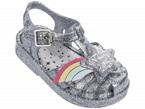 Sandali argento glitter con fibbia