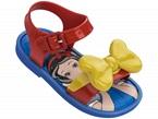 Sandali azzurri con fibbia rossa e fiocco giallo