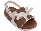 Sandali marroni e bianchi con fibbia e fantasia mucca