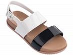 Sandali neri, bianchi e marroni con fibbia