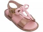 Sandali rosa glitter con fibbia e fiocco