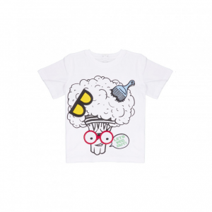 T-Shirt bianca con stampa broccolo multicolore