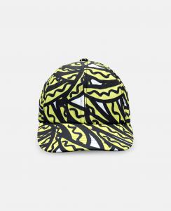 Cappello bianco con stampe banane gialle e nere