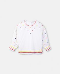 Blusa bianca con dettagli e stelle multicolore