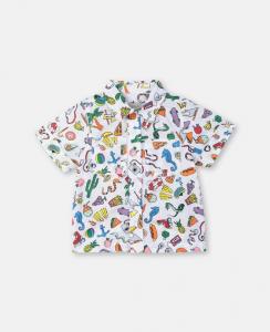 Camicia bianca con stampe multicolore