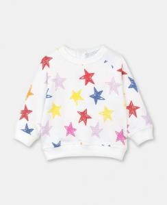 Felpa bianca con stampa stelle multicolore