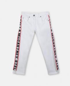 Jeans bianchi con bande rosse e scritte nere