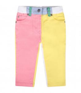 Jeans bianco con dettagli multicolore