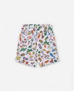 Pantaloncino bianco con stampe multicolore