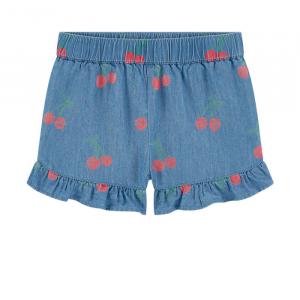 Pantaloncino blu con stampa ciliegie rosse e verdi