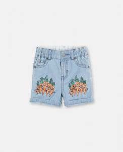 Pantaloncino di jeans con stampe carone arancioni e verdi