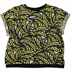 T-Shirt bianca con stampa banane gialle e nere