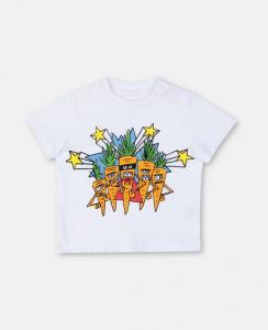 T-Shirt bianca con stampa carote multicolore