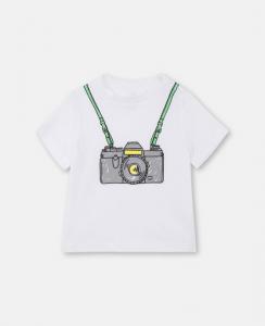 T-Shirt bianca con stampa macchina fotografica