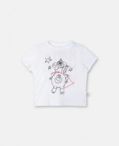 T-Shirt bianca con stampa maialino nero e rosso