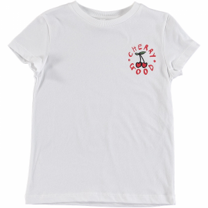 T-Shirt bianca con stampe ciliegia e scritta rosse