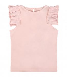 T-Shirt rosa con spalline volant
