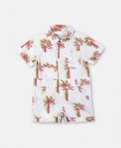 Tutina bianca con stampa palme multicolore