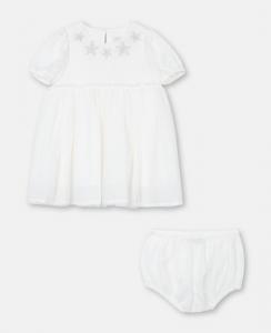 Vestito bianco con stampa stelle argento