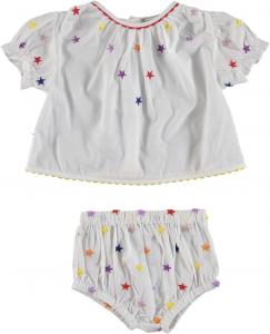 Vestito bianco con stampa stelle multicolore