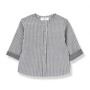 Camicia a righe verticali grigie e bianche