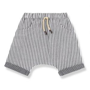 Pantaloncino a righe verticali grigie e bianche