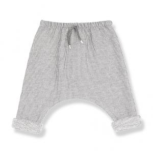 Pantalone a righe beige e panna con laccio