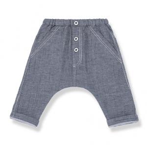 Pantalone con vita elasticizzata e bottoni