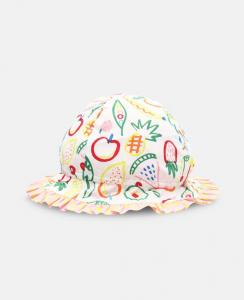 Cappello bianco con stampa frutta multicolore