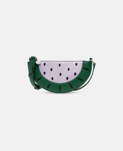 Borsa verde e bianca a forma di anguria