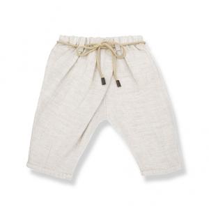 Pantalone panna con laccio beige