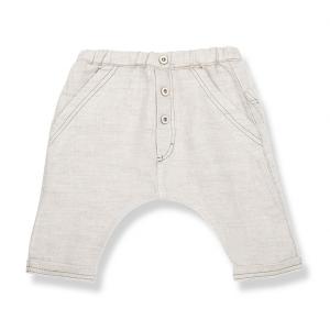 Pantalone panna con vita elasticizzata e bottoni